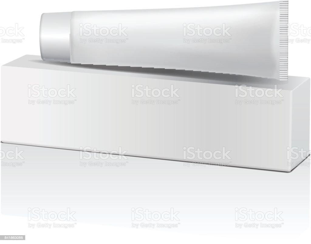 Vector De Tubo De Plástico Y Caja Blanca Para Medicamentos O ...
