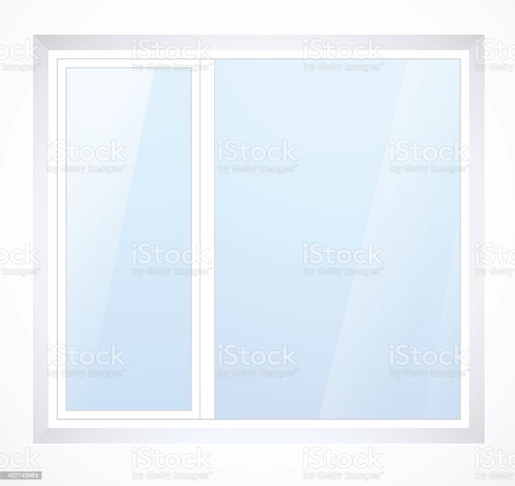 Vector plastic window with white frame vector art illustration