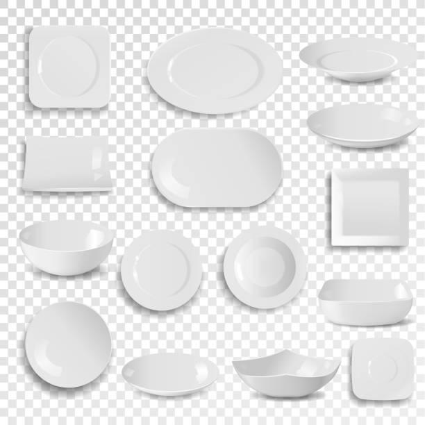 stockillustraties, clipart, cartoons en iconen met vector plaat en kom leeg wit schoon diner schotel gebruiksvoorwerp geïsoleerd op achtergrond maaltijd servies bord cirkel 3d-realistische stijl dineren - tafel restaurant top