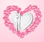 Realistic plate, rose, sakura cherry petals in shape of heart, knife, fork. Valentines day romantic utensil, love and care symbol for holiday celebration. Vector illustraiton on pink background