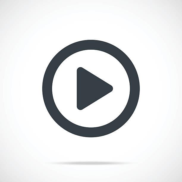 vektor-play-symbol. schwarz play-button, runde flache symbol - anfang stock-grafiken, -clipart, -cartoons und -symbole
