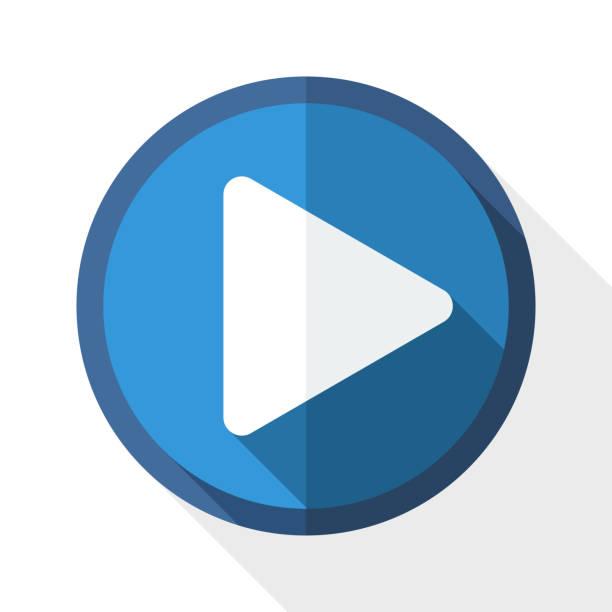 ilustrações de stock, clip art, desenhos animados e ícones de vector com longa sombra ícone de reprodução - video