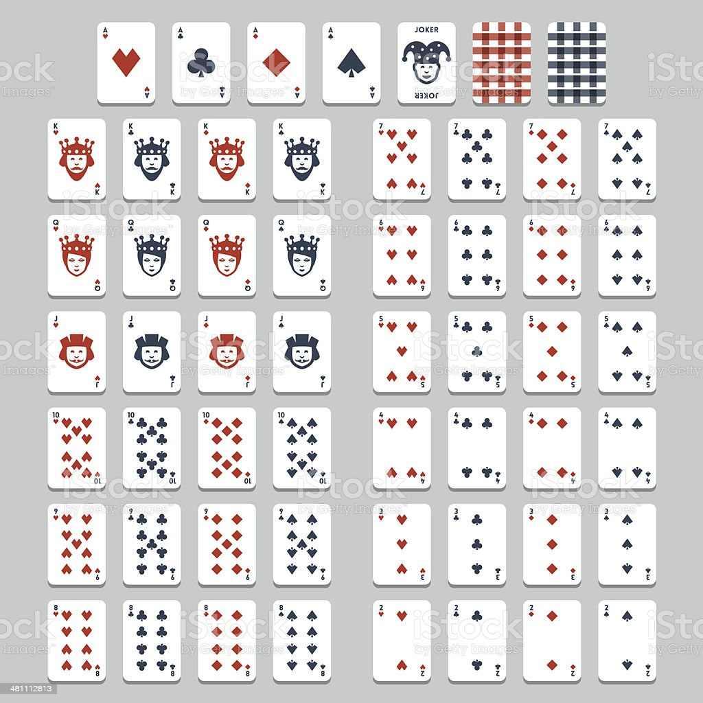 Vector playing cards, flat style vector art illustration