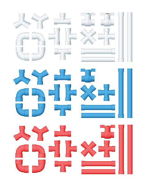 vektor-set mit rohrleitung - pvc stock-grafiken, -clipart, -cartoons und -symbole
