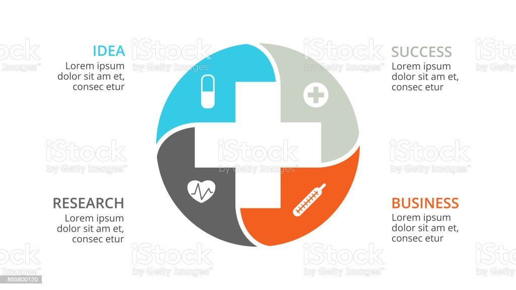 Vector plus infographic, medical diagram, healthcare graph, hospital presentation, emergency chart. Medicine doctor logo. Concept with 4 options, parts, steps, processes vector art illustration