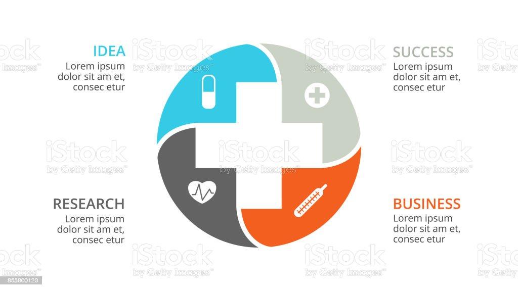 Vecteur plus infographique, Diagramme médical, santé graphique, présentation de l'hôpital, graphique d'urgence. Logo de docteur de médecine. Concept avec 4 options, des pièces, des étapes, les processus - Illustration vectorielle