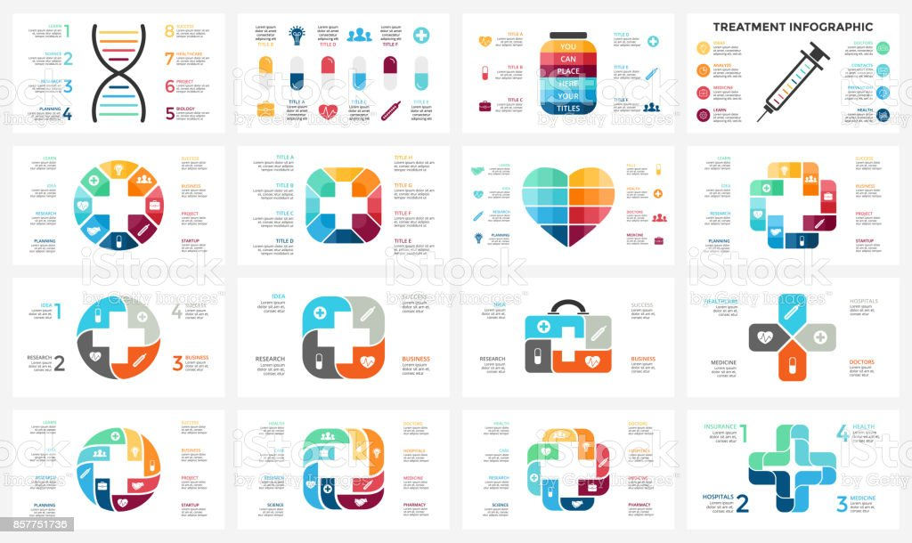 Vector plus infographic, medical diagram, healthcare graph, hospital presentation, emergency chart. Medicine doctor logo. Medication pills treatment. DNA science. Concept with 4, 8 options, parts, steps, processes vector art illustration