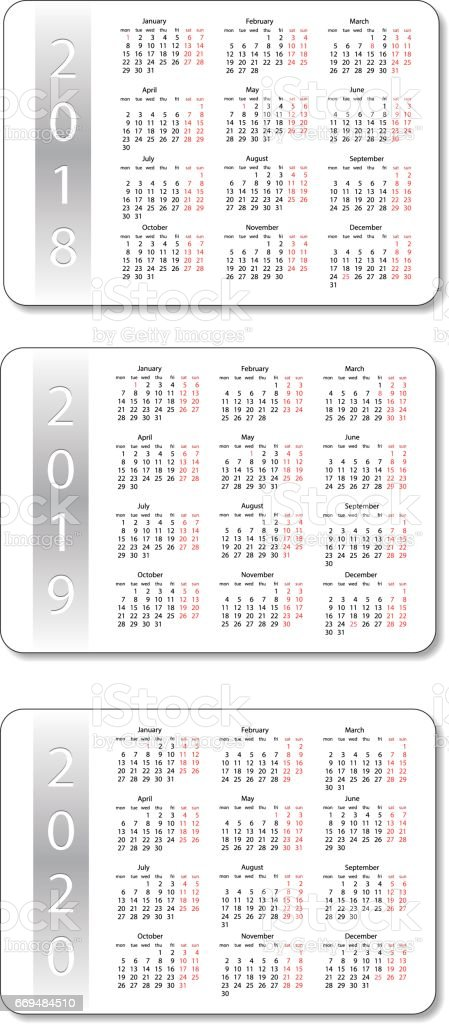 vector pocket calendar set 2018 2019 and 2020 years white design template