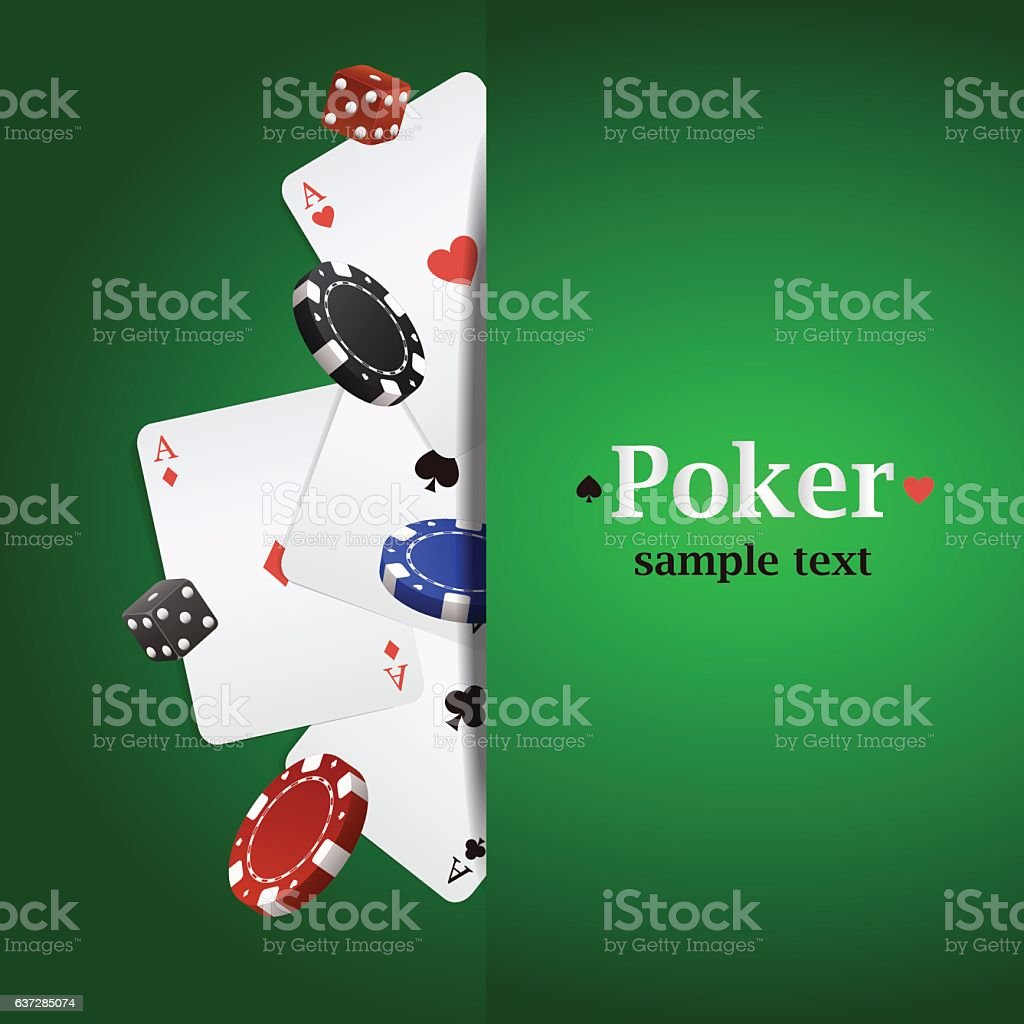 Vector poker background with playing cards, chips and dices vector art illustration