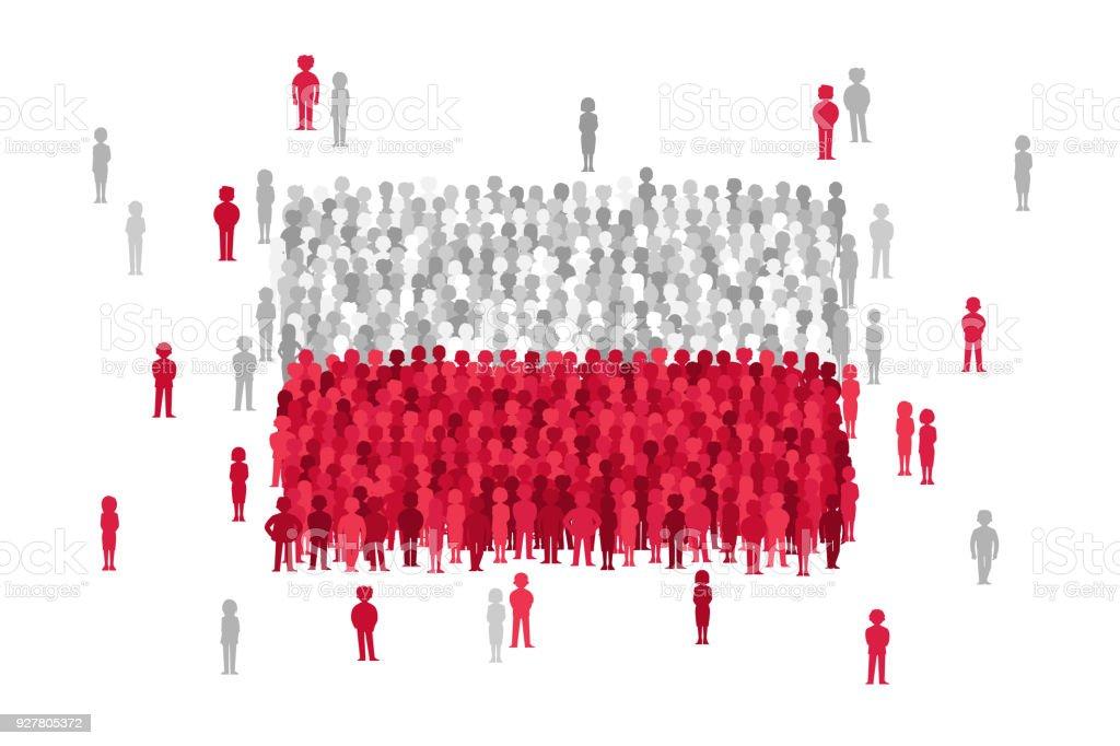 Vektor Polen Staatsflagge von Cartoon Menschenmenge gebildet – Vektorgrafik
