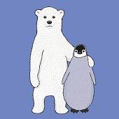 Vector polar bear and penguin