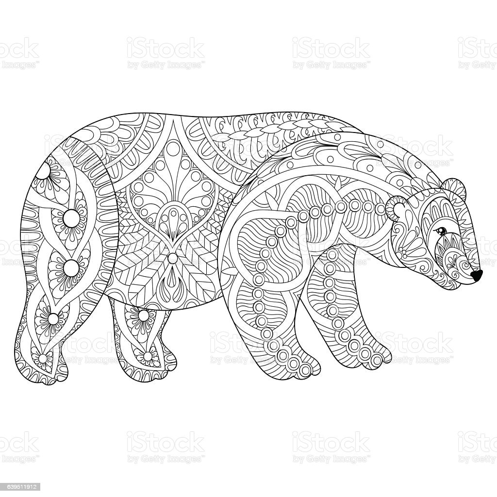 Vector polar bear head for adult anti stress coloring for Bear head coloring page