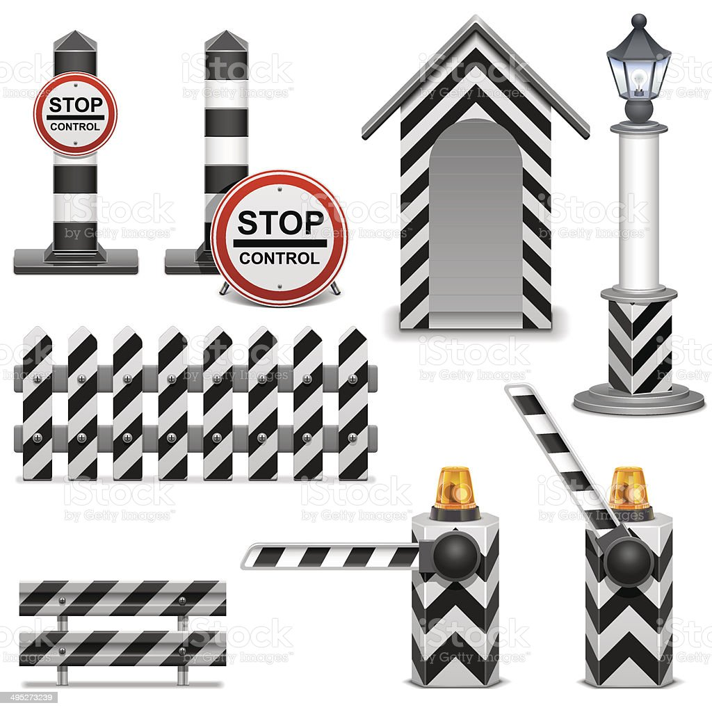 Vector Police Barrier Icons vector art illustration