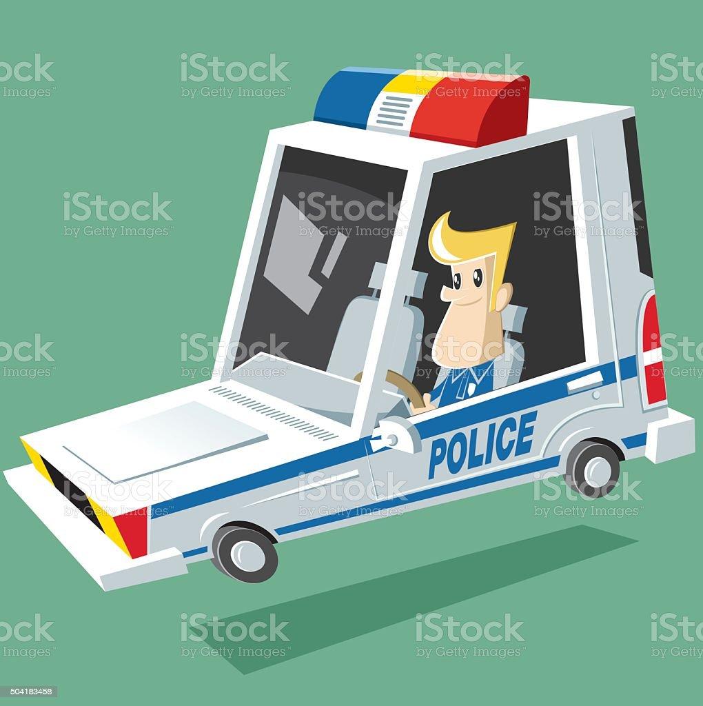 vector police car vector art illustration