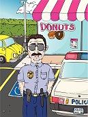 Vector Police Officer Cartoon with Doughnut Shop