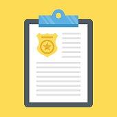 Vector police report clipboard, police badge. Flat design vector illustration