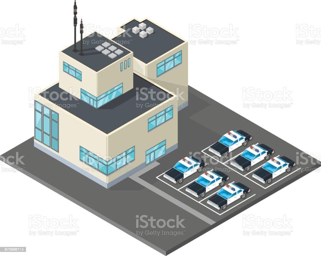 Vector Police Station Icon. vector art illustration