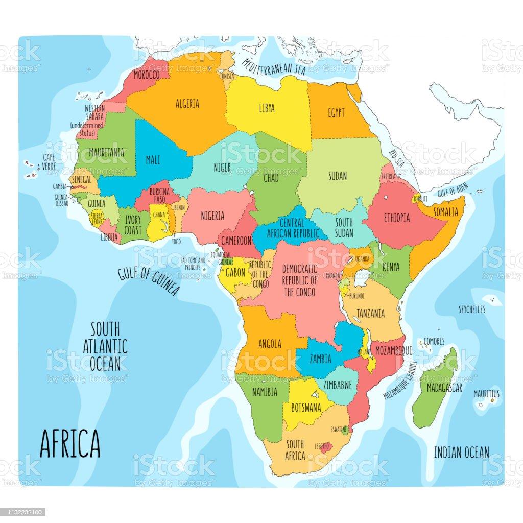 Carte Afrique Anglais.Carte Politique Vectorielle De Lafrique Illustration Coloree Dessinee A La Main Du Continent Africain Avec Des Etiquettes En Anglais Vecteurs Libres