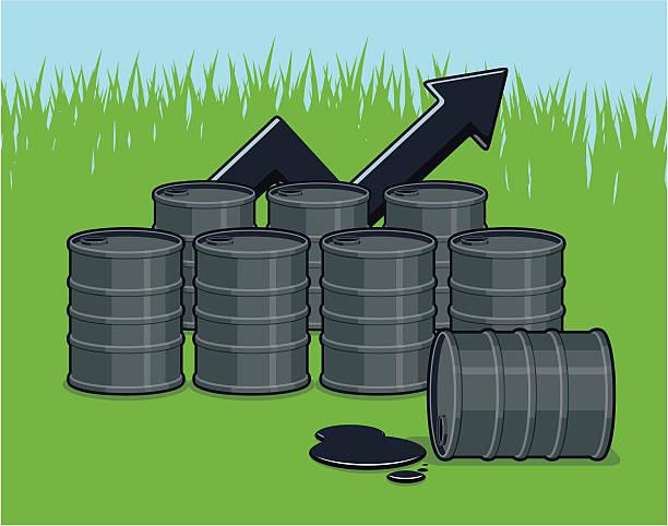 Vector Pollution Concept - Oil Barrels on Green Grass  oil drum stock illustrations