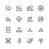 Vector pollution icon set in thin line style