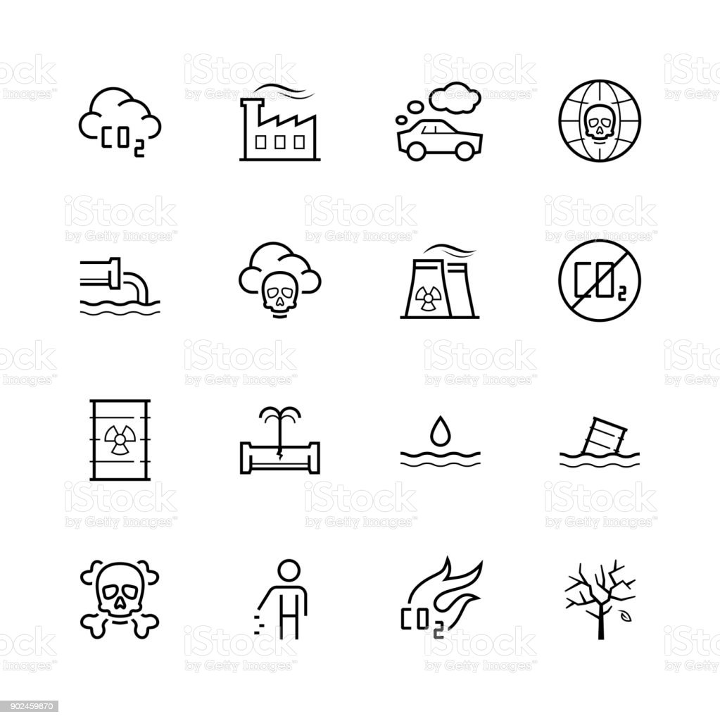 Vector pollution icon set in thin line style vector art illustration