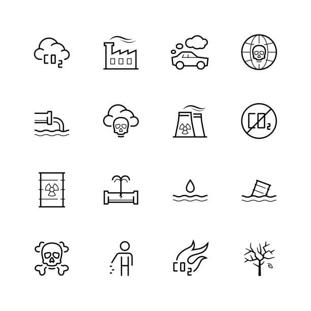 bildbanksillustrationer, clip art samt tecknat material och ikoner med vector föroreningar ikonuppsättning i tunn linjestil - co2