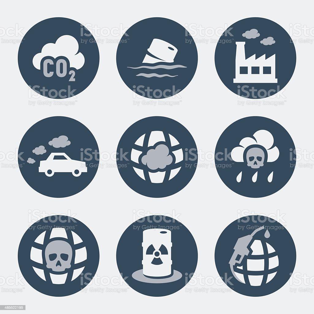 Vector pollution icons set vector art illustration
