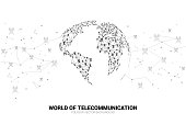 Vector Polygon antenna tower icon connect line to world map shape.