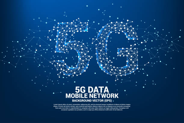 Vector Polygon dot connect line shaped 5G mobile networking networking. vector art illustration