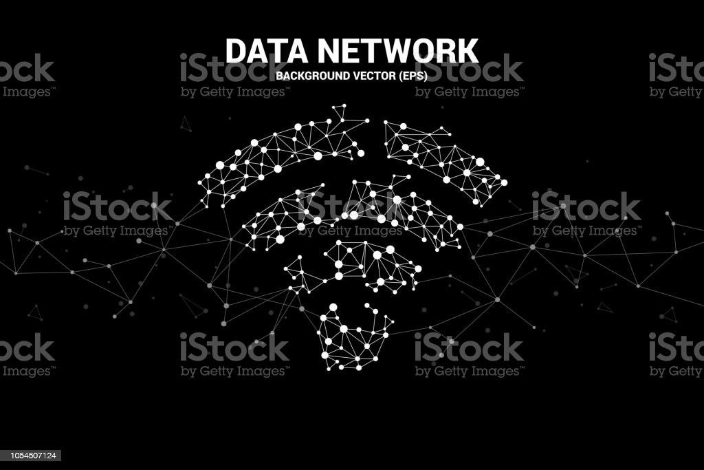 Vector Polygon dot connect line shaped mobile data icon. vector art illustration