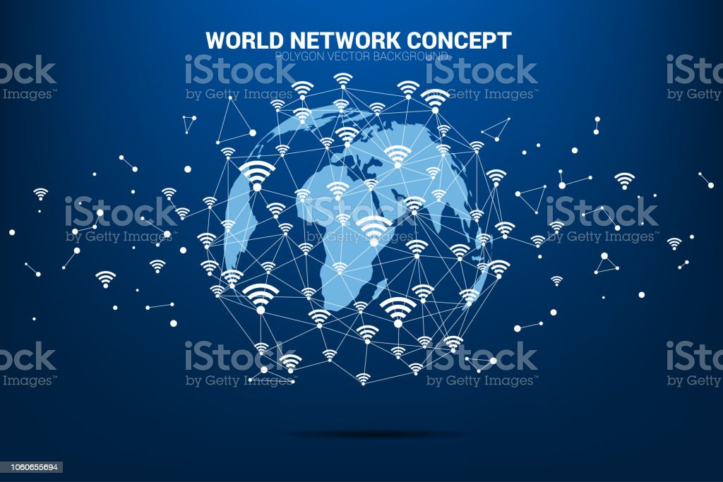 Vector Polygon line connect mobile data and wi-fi icon signage shape the world map. vector art illustration