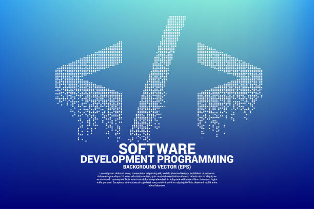 Vector Polygon software development programming tag icon with square dot pixel. Concept for Programming language technology and coding. html stock illustrations