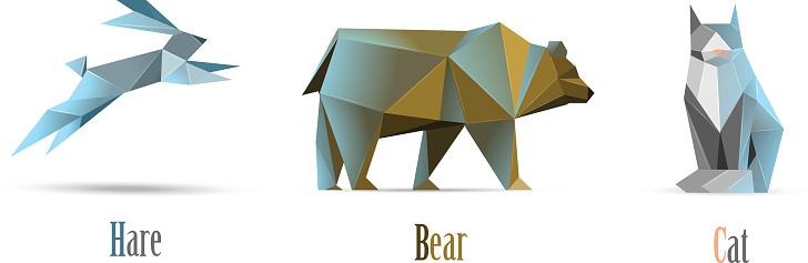 Vector polygonal illustration of animals cat, bear, hare, modern low