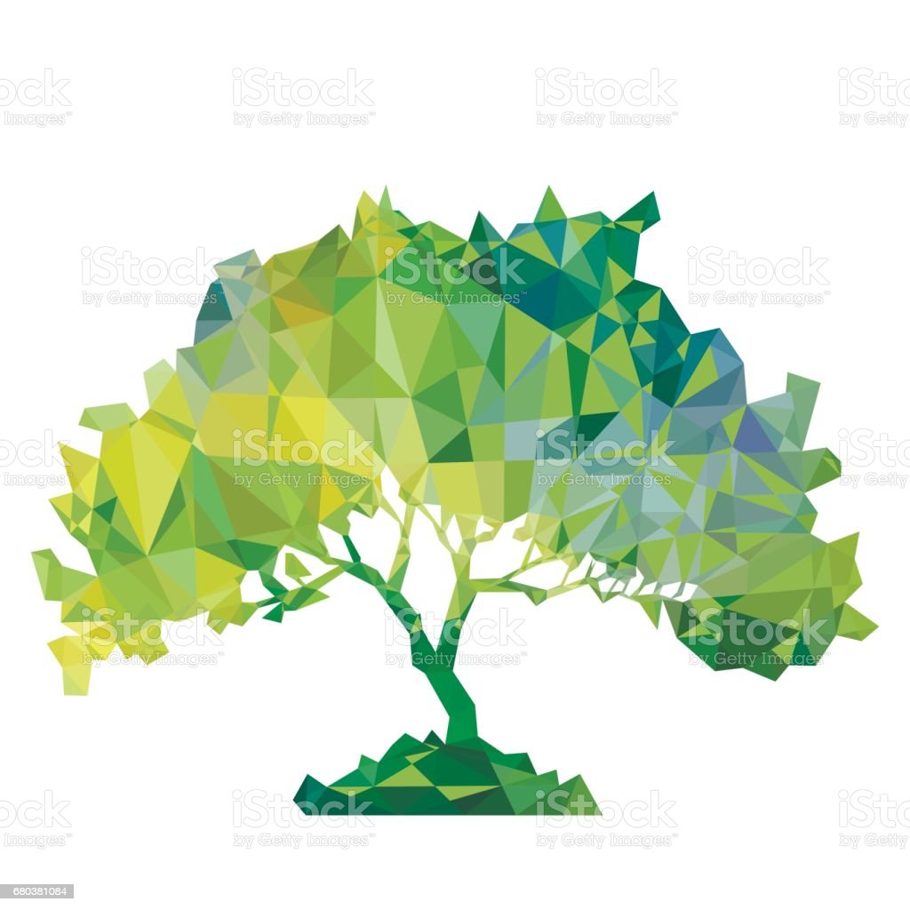 vector polygonal silhouette of green tree royalty-free vector polygonal silhouette of green tree stock vector art & more images of agriculture