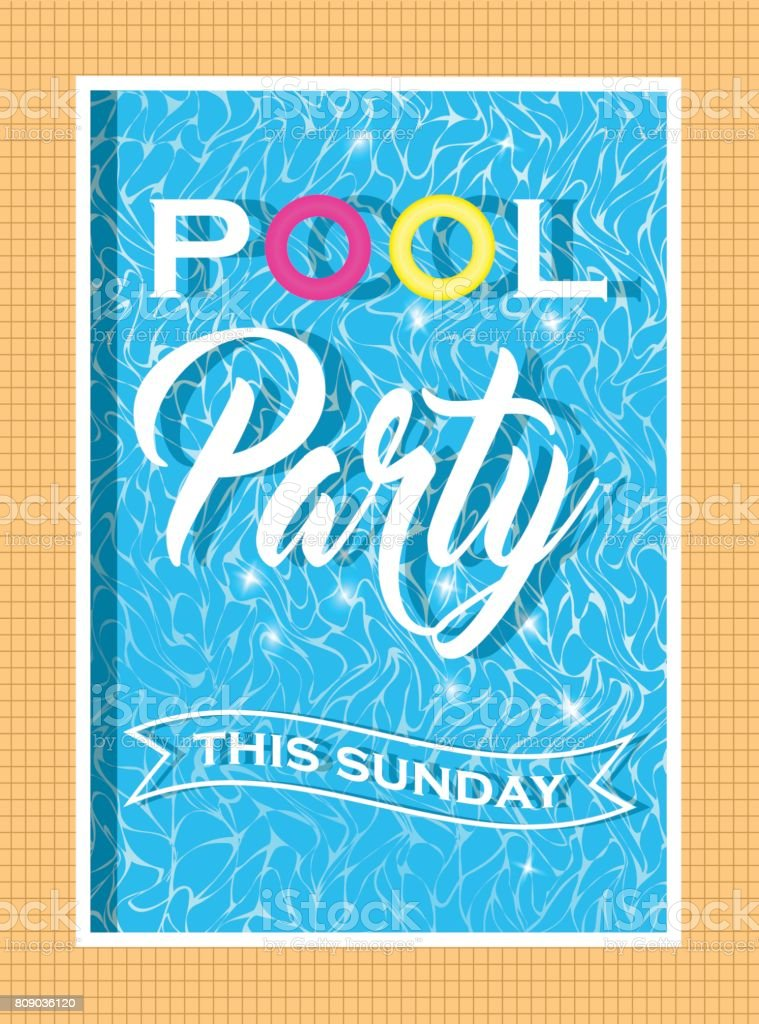Vector Pool Party Invitation Design Template For Flyer And Poster