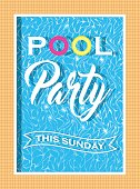 Pool party invitation design. Template for flyer and poster. Vector.