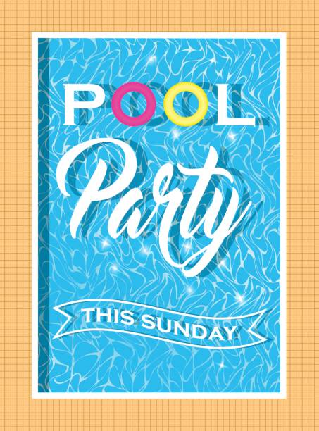 Vector pool party invitation design. Template for flyer and poster. Pool party invitation design. Template for flyer and poster. Vector. pool party stock illustrations