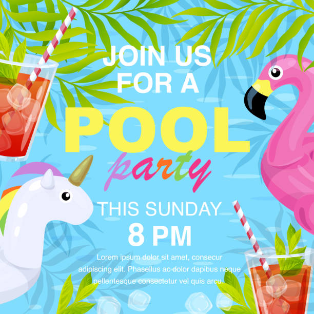 Vector pool party invitation design Vector illustration, invitation card design, join us for a Pool party text. Inflatable flamingo and unicorn in cartoon style. pool party stock illustrations