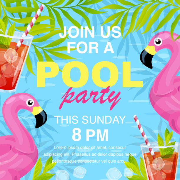 Vector pool party invitation design Vector illustration, invitation card design, join us for a Pool party text. pool party stock illustrations