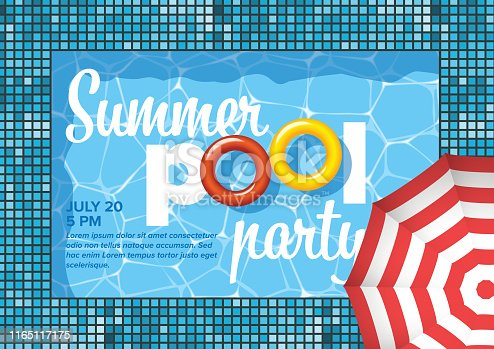 istock Vector pool party invitation flyer poster template 1165117175