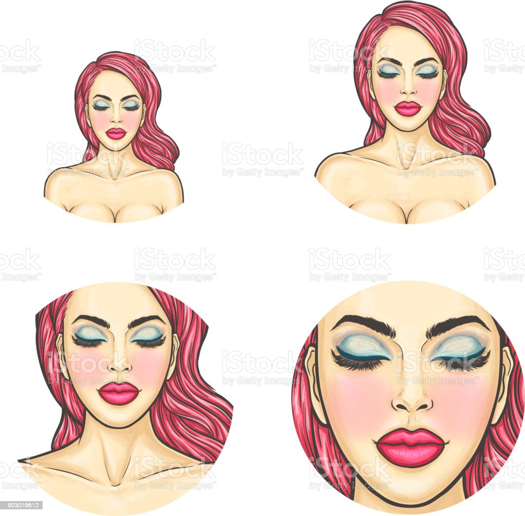 Vector pop art avatar, icon - sexy woman s face with colored dyed hair,