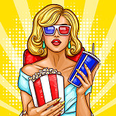 Vector pop art illustration of a beautiful blond woman sitting in the auditorium and watching a 3D movie. A girl in 3D glasses sits in a red armchair and holds a container with pop corn and soda