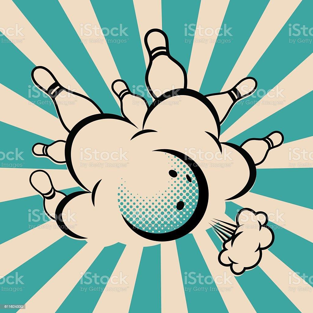 Vector pop art bowling illustration on a vintage background. vector art illustration
