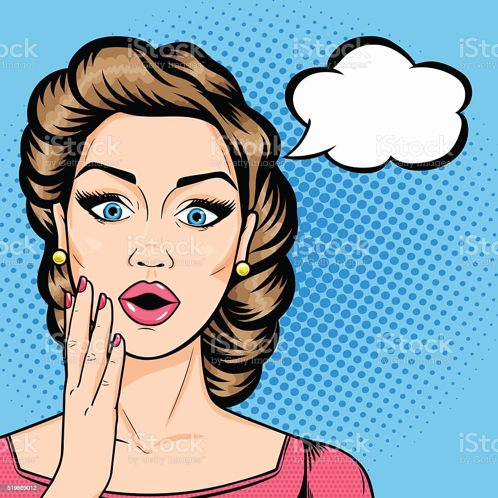 Vector pop art comic woman shocked face with open mouth vector art illustration