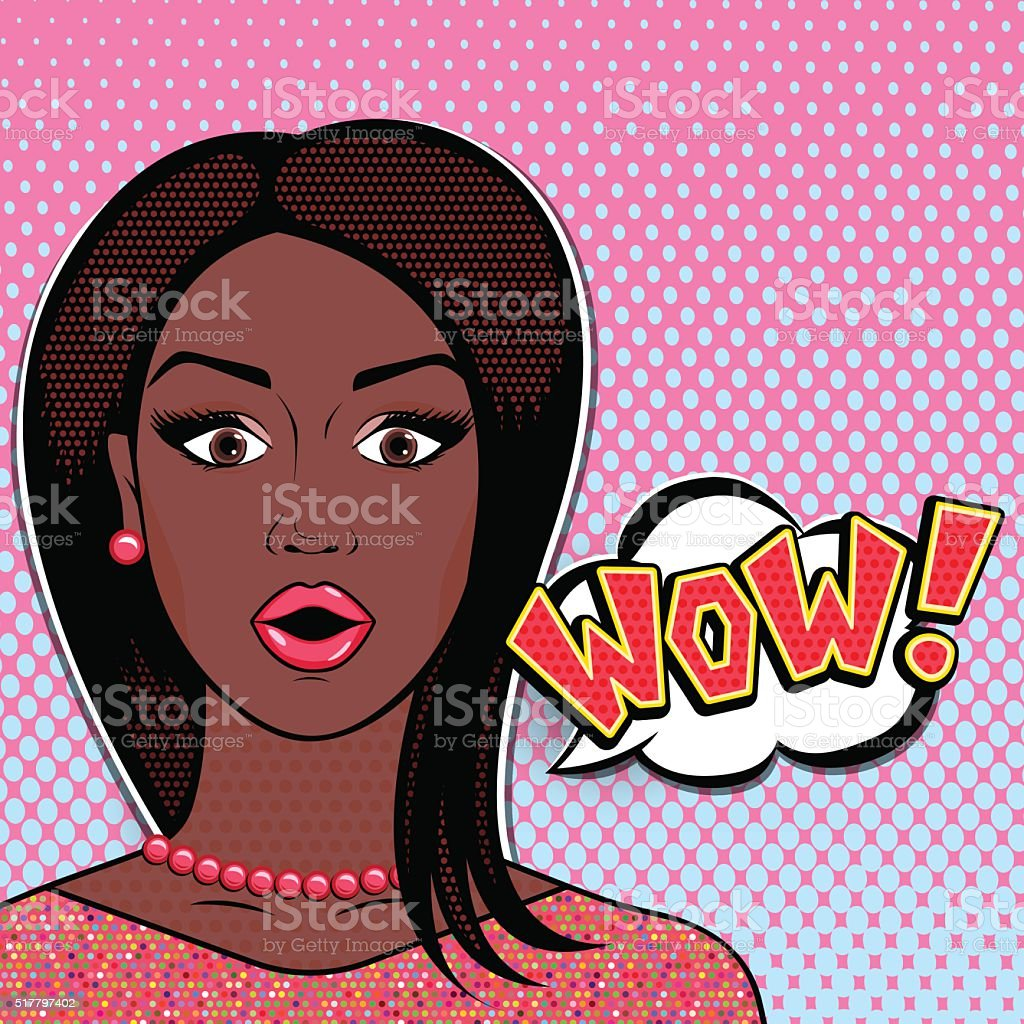 Vector pop art comics surprised african woman face with open mouth...