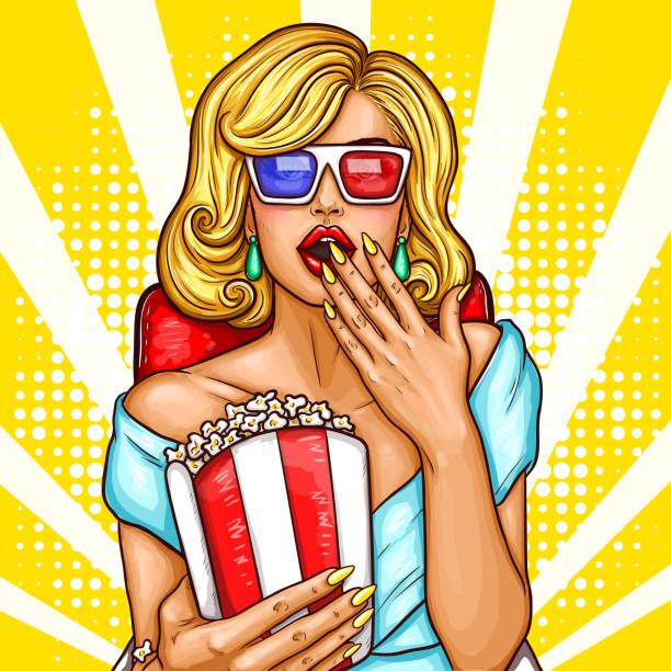 Vecteur pop art excité une femme blonde assis dans l'auditorium et regarder un film en 3D. - Illustration vectorielle