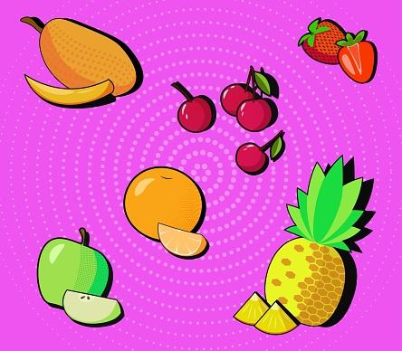 Vector pop art fruit and berries set