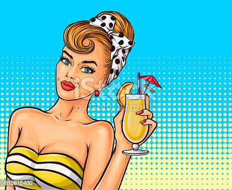 Vector pop art sexy girl with a cocktail in hand