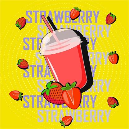 Vector pop art strawberry drink with berries