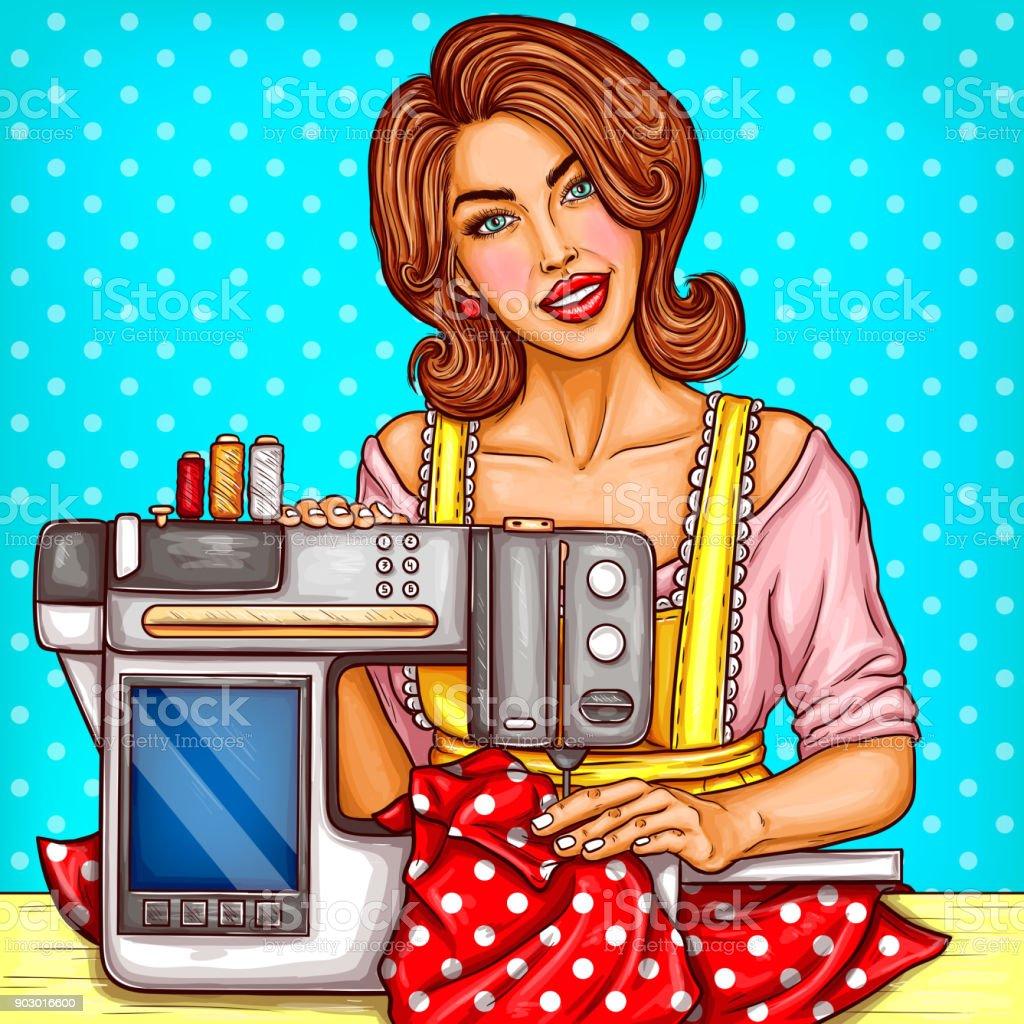 Ilustración de Costurera De Vector Arte Pop Mujer Cose En Máquina y ...